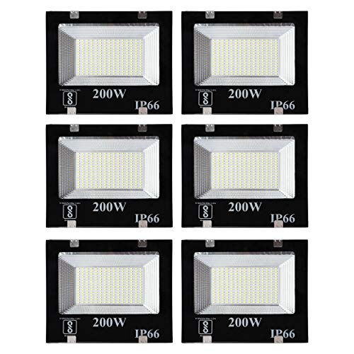 Gesto 200 Watt Ultra Thin Slim Ip66 LED Flood Outdoor Light Cool White Waterproof- 200W(Pack of 6)