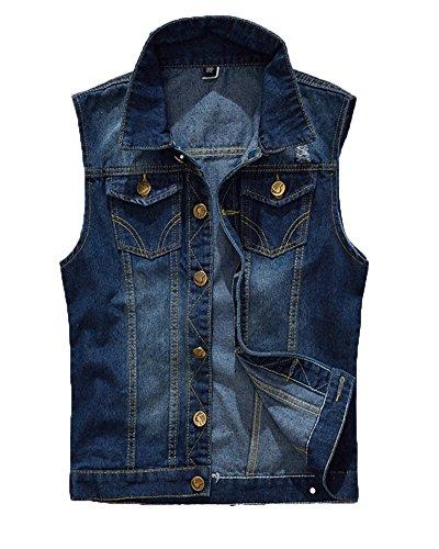 Gilet Jeans Uomo Vintage Cappotto Jeans Senza Maniche Giacca Giubbotto Smanicato Blu 2Xl