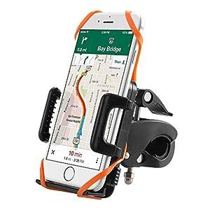 Soporte Móvil Bicicleta TaoTronics con Montaje en la Horquilla, Giratorio 360 Grados, un Solo Botón para Desmontar, Brazo Ajustable 2 Correas de Caucho para Smartphone, GPS y Otros Dispositivos