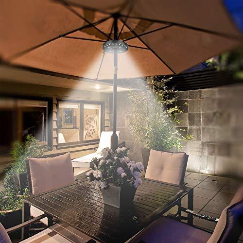 AARRM 2 PCS Patio Umbrella Lights, wiederaufladbare 28LEDs 3 Stufen-Dimm-Modi - 4 x AA-Batteriebetrieb, Aufladeschirm-Pole Light für Patio-Regenschirme, Außenbereich oder Campingzelte
