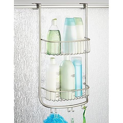 Panier de douche mDesign, à disposer sur une porte, pour shampoing, revitalisant, savon - Satin