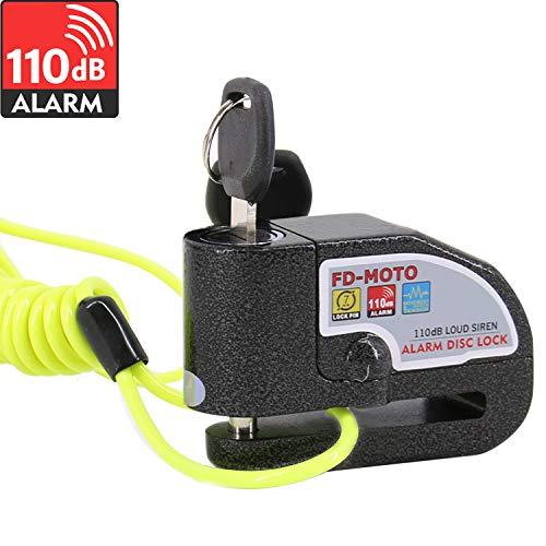 FD-MOTO 110dB Candado de Disco Moto con Alarma Acero 7mm con Cable 1.5M Negro + Bolsa Libre Bloqueo de Moto Motocicleta Antirrobo
