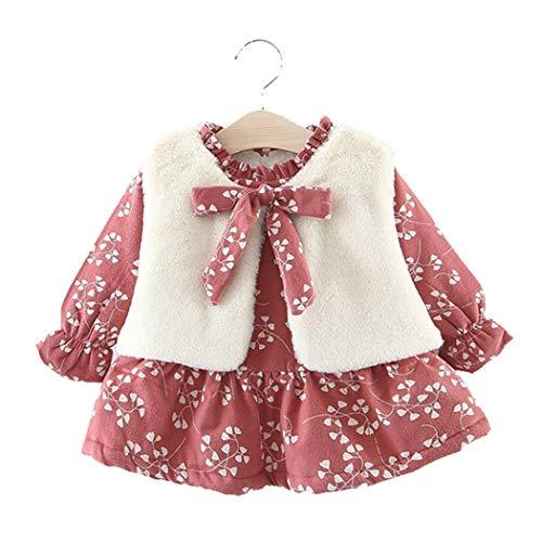 Baby Mädchen Kleider, Allskid Winter Warm Langarm Blume gedruckt Kleid Plüschweste Zweiteilig Rot Prinzessin Girls Dress
