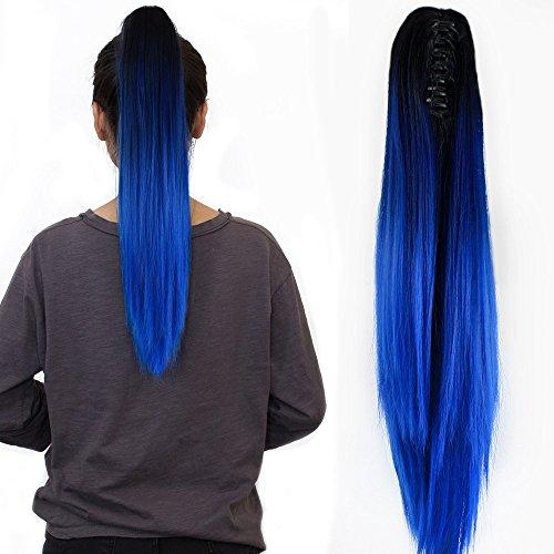"""Neverland Beauty 20"""" 50CM Claw on Dip Dye Damen Ponytail Haarverlangerung Pferdeschwanz Haarteil Naturlich Schwarz zu Blau"""