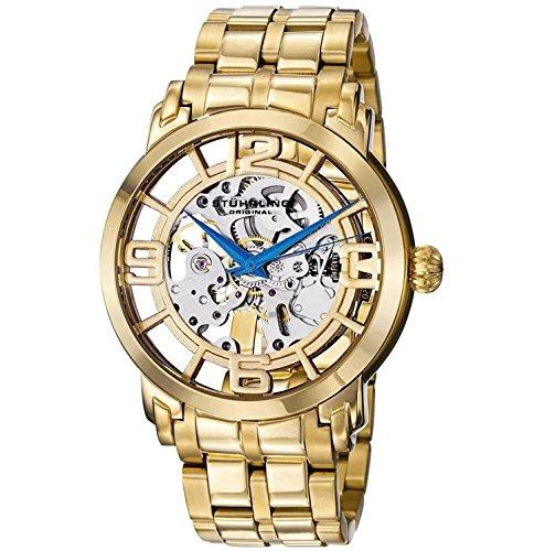 Stührling Original Winchester 44 Elite- Reloj de pulsera, automático para hombre, correa de acero inoxidable de 22mm de ancho, color dorado