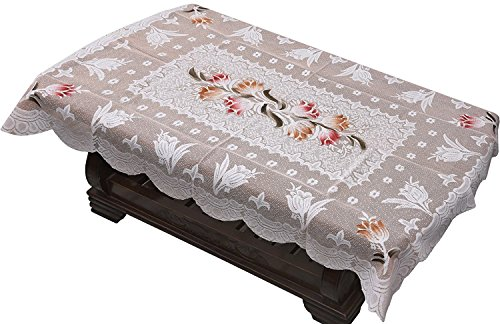 Yellow Weaves™ Designer Center Table Cover Net Cloth 40x60 Inches (Off White)