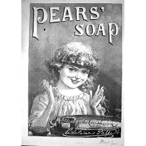Cuenco de Lavado Antiguo de la Chica Joven del Jabón de las Peras del Anuncio de la Impresión