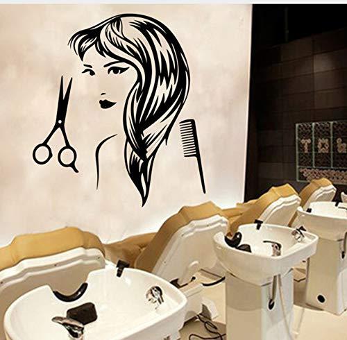 Mrlwy Peluquería Decal Corte De Pelo Mujer Pegatinas De Pared Peluquería Murales Extraíbles Arte Para La Decoración Del Peluquero Accesorios Papel Tapiz 43X60 Cm