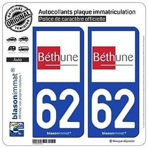2 Autocollants de plaque d'immatriculation auto 62400 Béthune - Ville
