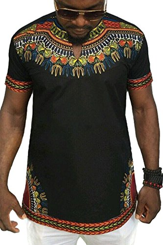 Männer T-Shirt Dashiki Afrikanischen Stammes Kurze Ärmel Hip Hop schwarz XL - Kleid Hip Hop