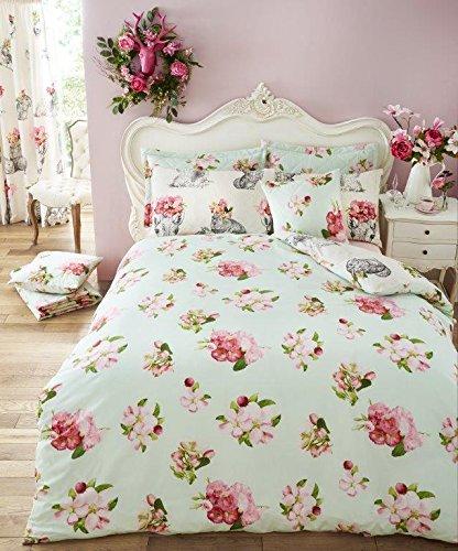 Línea de dibujo animales con flores Reverse-Juego de funda nórdica moderna de mezcla de algodón ropa de cama, cama doble por EDS