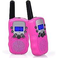 Flybiz Walkie Talkie Niños PMR446 8 Canales LCD Pantalla Función VOX 10 Tonos de Llamada Bloqueo de Canal Linterna Incorporado 8 Canales LCD Pantalla VOX (Rosa)
