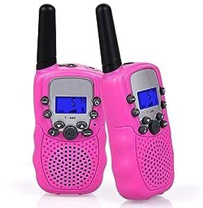 Flybiz Walkie-Talkie, Ricetrasmittente 8 Canali 2 x Walkie Talkies PMR446MHZ per Bambini 2 Way Radio Interphone PortatileFino a 3300 Metri / 2 Miglia (Rosa)