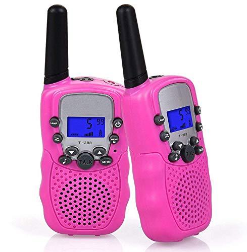 Flybiz Walkie Talkie für Kinder PMR446 mit Akkus Ladekabel 0,5W 8 Kanäle Taschenlampe Funkgeräte,Taschenlampe Funkgeräte, Set Kinder Funkgeräte 3KM (2er-Set, Rosa) (Rosa)