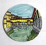 Puente Viejo de Florencia-plato decorado a mano con un diámetro de 21,3 cm-Made in Italy, Toscana...