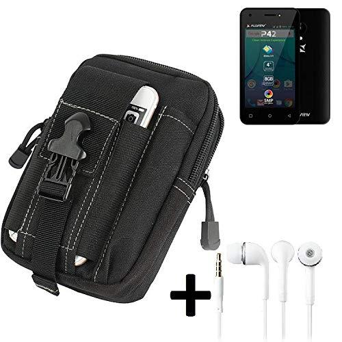 K-S-Trade Gürteltache für Allview P42 Gürtel Tasche Schutzhülle Handy Schutz Hülle Smartphone Tasche Outdoor Handyhülle schwarz inkl. Extrafächer + Kopfhörer