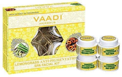 Vaadi Herbals Zitronengras Anti Pigmentation Spa Facial Kit mit Zedernholz-Extrakt, 70g - (Verpackung können variieren) - Kräuter-zitronengras Shampoo