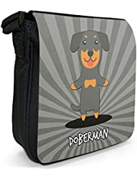 German Cartoon Dogs Small Black Canvas Shoulder Bag - Size Small