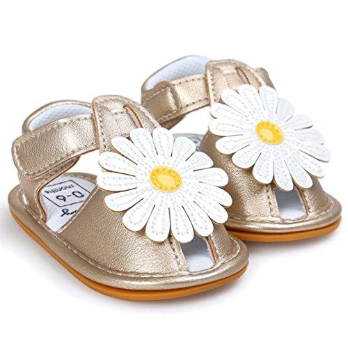 BZLine® Grande Fleur PU Cuir Sandales à Semelle en Oxford, Anti-glissant pour Bébés Filles 0-18Mois Or
