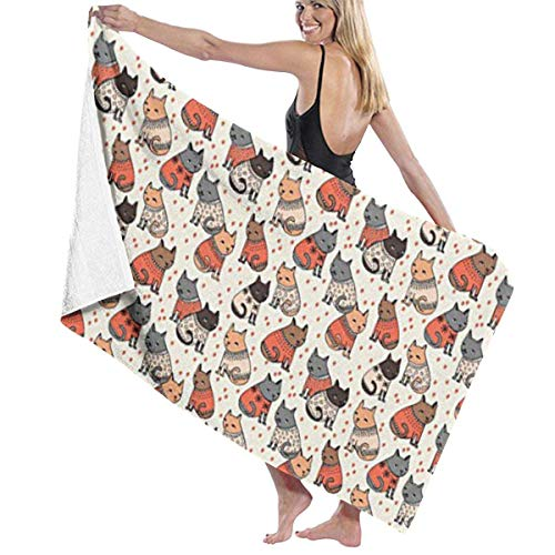 Gebrb Duschtücher/Badetücher,Strandtücher, Microfiber Travel & Beach Towel,Camping Towel, Gym Towel, Sports Towel, Swimming Towel - Holiday Christmas Cats Wearing Sweaters Print 31x51 Inches