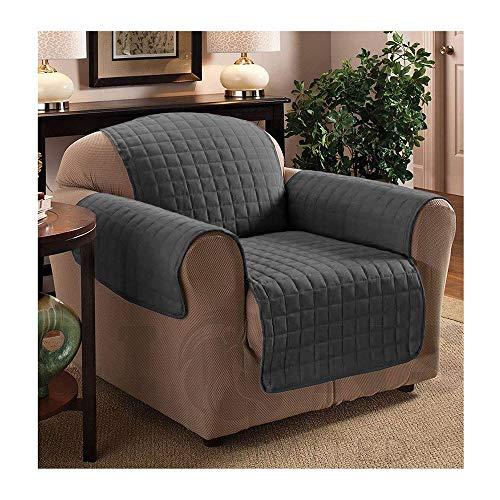 Copri-divano trapuntato impermeabile, per divani di tutte le misure, Grey, 1 posto