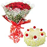 SWEET COMBO - 20 Red Roses Hand Bunch with Half KG Pineapple Cake