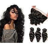 Daimer Loose Wave 3 Tissage with 4x13 Frontal Cheveux Humains Brésilien en lot pas cher Naturel 14 16 18 +12 Frontal