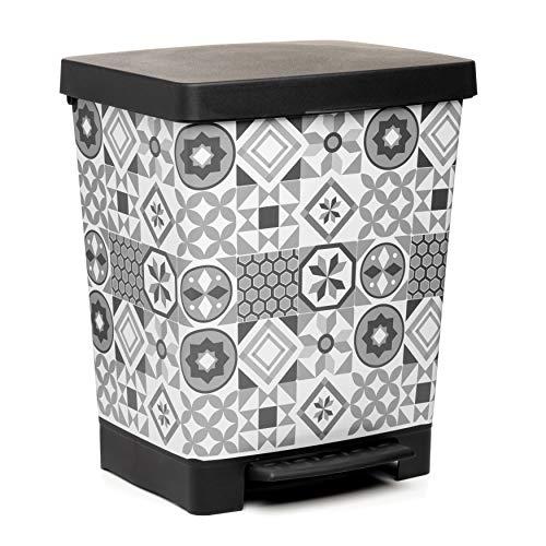 TATAY Cubik Hydraulic Cubo de Basura para la Cocina con Apertura a Pedal, Capacidad para 23 litros...