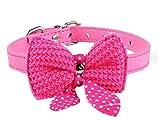 Ducomi® Collare Regolabile in pelle con Papillon Uncinetto e Fiocco a Pois per cane, gatto e cucciolo (S, Pink)