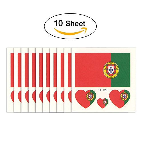 joseche National Flagge Tattoo 10 modische temporäre Tattoos [enthalten iClean Tücher] Umweltfreundlich Wasserdicht Tattoo Aufkleber für 2018 World Cup, Fußball Soccer Fans Sport Spiel., Portugal