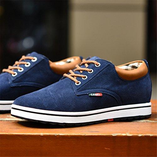 ailishabroy Männer echtes Veloursleder Leder Aufzug Schuh Männer Höhe Erhöhung Schnürung Casual Schuhe Blau