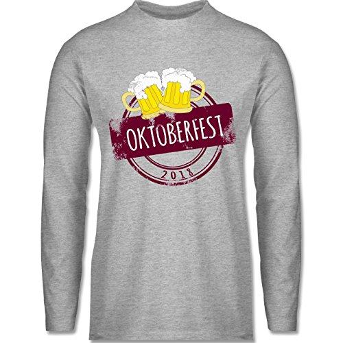 Shirtracer Oktoberfest Herren - Vintage Stempel Oktoberfest 2018 - Herren Langarmshirt Grau Meliert