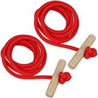 Cuerda Gloco para el trineo, de com-four®, con mango de madera, 130 cm, roja, rot V3 - 2 Stück