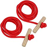 Gloco–by com de Four® rojos trineo cuerda cuerda con mango de madera 130Cm Rojo, rot V3 - 2 Stück