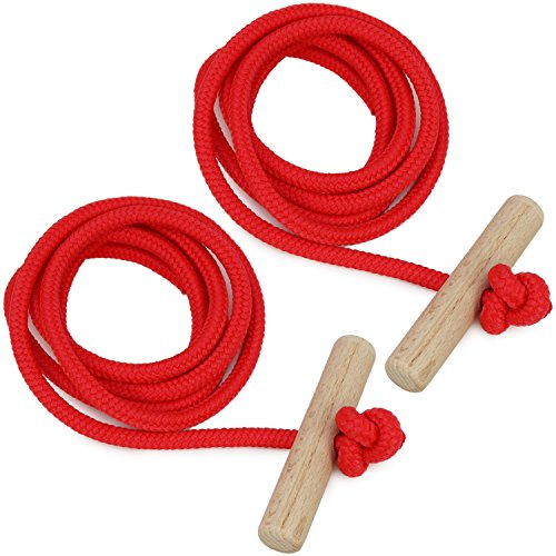 Gloco by com-four ® rosso slitta guinzaglio corda di traino con manico in legno 130cm rosso
