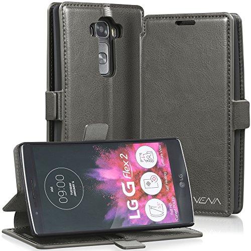 VENA vFolio Vintage Genuine Leather Wallet Flip StundCase mit Karte Taschen & Sleep/Wake Function für LG G Flex 2 - Grau/Schwarz