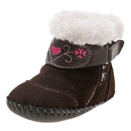 Little Blue Lamb - Chaussures premiers pas cuir souple fille | Bottines marron velours Taille: 6-12 mois