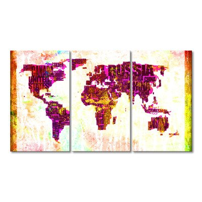 WandbilderXXL® Gedrucktes Leinwandbild Weltkarte Nr.3 180x100cm - in 6 verschiedenen Größen. Fertig gespannt auf Holzkeilrahmen. Günstige Leinwanddrucke für Kinderzimmer Schlafzimmer.