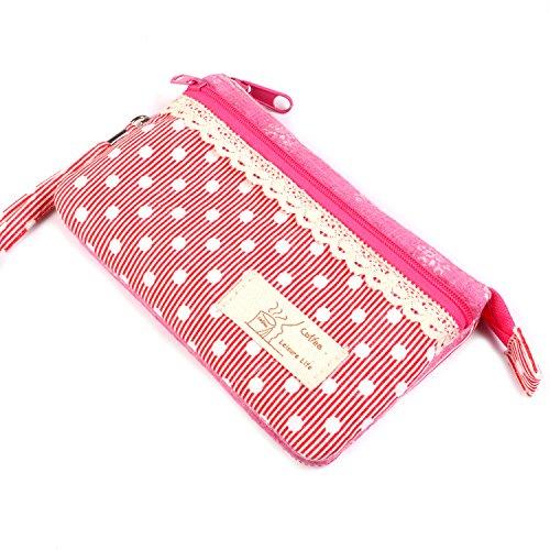 KISS GOLD (TM) Mini Handytasche Geldbeutel mit Polka Dots für Damen und Mädchen Blau Rot