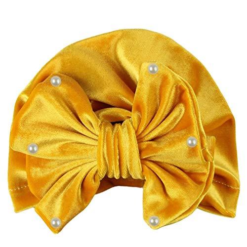 Koojawind Neugeborenes Baby MäDchen Perlen GeknüPft Hut Warme Bow Beanie Headwear MüTze, Bouquet Gold Samt Hut, üBerlegene Baumwollmischung, Weich Und Bequem FüR Baby Zu Tragen