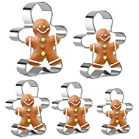 Gingerbread Man Cutters Stainless Steel Cookie Cutter Gingerbread Man Shapes for Kids Set of 5 by KAISHANE