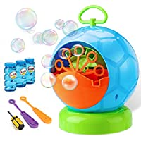 Bubble Machine - Bubble Machine for Kids with 3 Bottles of Bubble Solution and 2 Hand Bubble Wands - Durable and Portable Automatic 800+ Bubble Machine for Christmas, Parties, Wedding (Football Shape)