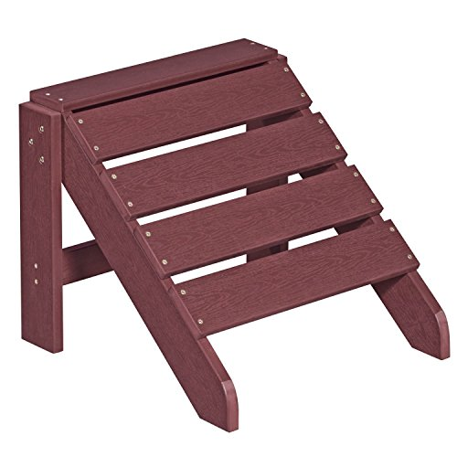 NEG Design Adirondack Fußbank MARCY (rot-braun) Westport-Hocker/Fußhocker aus Polywood-Kunststoff (Holzoptik, wetterfest, UV- und farbbeständig)