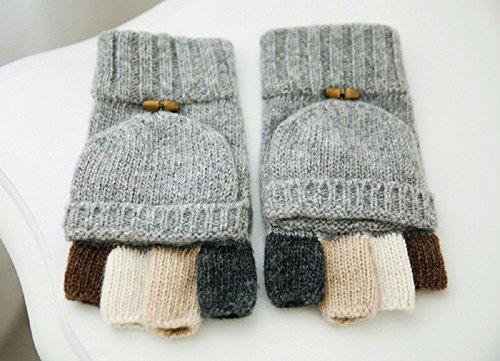 Imixcity Fonctionnelle Hiver Unisexe Laine de Cachemire Mitaines Tricoté Gants Clamshell Mixte Fingerless Gloves B:Gris Clair