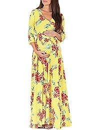 Homebaby Abiti Premaman Elegante Floreale Abito Elegante Donna Gravidanza  Infermieristica maternità Abito di Maglia Maxi Vestito maternità… 7cd3c31f720