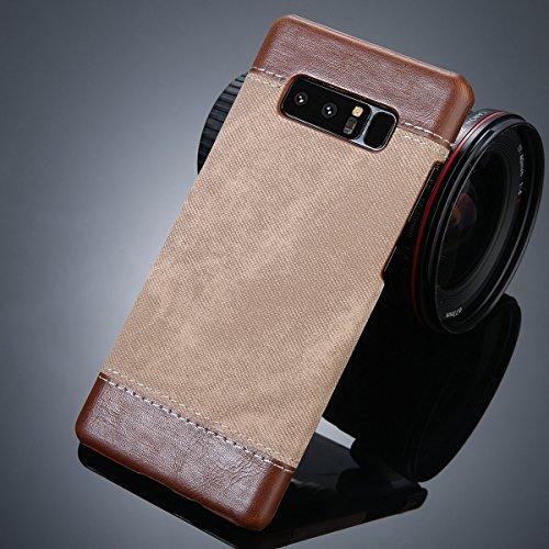 POHONOEO Retro Denim Tuch Korn Haut Telefon Kasten für Samsung Galaxie Anmerkung 8 PU Leder + PC rückseitige Abdeckungs Fälle für Samsung S8 S8 Plus, Brown, für Galaxie S8 -
