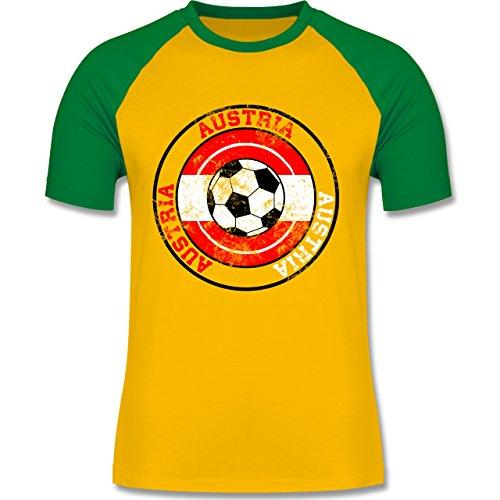 EM 2016 - Frankreich - Austria Kreis & Fußball Vintage - zweifarbiges Baseballshirt für Männer Gelb/Grün