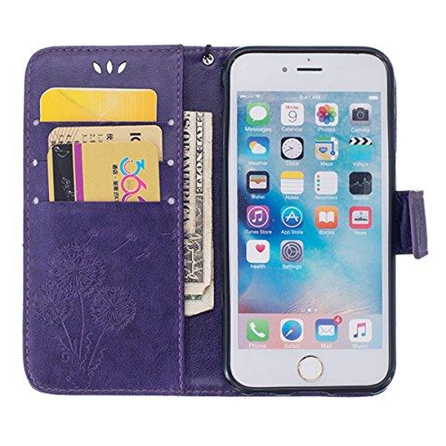 SainCat Apple iPhone 6 Plus Custodia in Pelle,Anti-Scratch Protettiva Corpertura Caso Custodia Per iPhone 6s Plus,Elegante Creativa Dipinto Pattern Design PU Leather Flip Ultra Slim Sottile Morbida Po dente di leone,porpora