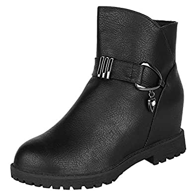 AUTHENTIC VOGUE Women's Ankle-Length Trendy Wedge Heel Black Colour Leather Boots 37 EU