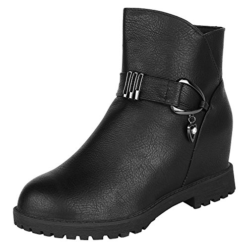 Authentic-Vogue-Womens-Ankle-Length-Trendy-Wedge-Heel-Black-Colour-Leather-Boots